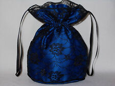 Black lace and royal blue satin dolly bag for bridesmaids / evening wear / prom