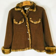 TASHA POLIZZI  faux fur jacket Womens Size Medium  button