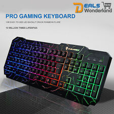 Colorful Crack LED Illuminated Backlit USB Wired PC Rainbow Gaming Keyboard