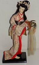 Vintage Oriental Nishi Geisha Doll Kimono Holding Warrior Helmet