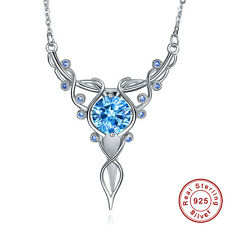 Free Box & Chain Wedding Swiss Blue Topaz 925 Sterling Silver Necklace Pendant