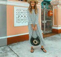 ZARA NEW FLOWING POLKA DOT PRINTED DRESS Size L