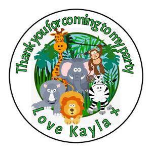 Personalised Jungle Circus Animals Birthday Thank You Party Stickers Sweet Cones