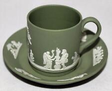 Wedgwood Jasperware Green Demitasse Cup & Saucer Set
