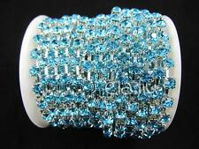SS18 1Yard Aquamarine Blue Color Crystal Rhinestone Silver Chain Trim Promotion