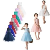 Flower Girls Dress Princess Pearl Wedding Bridesmaid Gowns Birthday Party Gowns