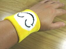 NEW WHITE SMILE FACE WRIST BAND SUPPORT PROTECTIVE SWEAT COOL SPORTING GOODS,S05
