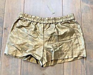 NWT J.Crew Women's Flat Front Linen Blend Gold Shorts Side Pockets Size: 8