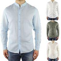 Camicia di Lino Uomo Collo Coreana Slim Fit Manica Lunga Estiva Sartoriale Elega