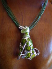 COLLIER cordon grand  PENDENTIF CHIEN dalmatien émaillé vert dalmatian DOG