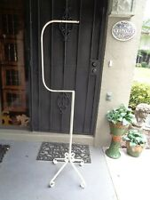 Vintage White Iron Metal Hanging Bird Cage Floor Stand Scroll Base Mcm Regency
