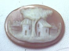 NOS Antique Vintage Hand Carved Oval Shell CAMEO Stone House & Tree Scene #N405
