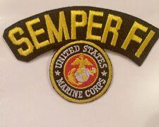 "MARINE CORPS USMC  LOGO SEMPER FI BRAND NEW IRON-ON PATCH 4""x3"""
