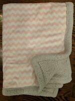 Just Born Pink Chevron Blanket Gray Sherpa Baby Security Lovey White Zig Zag GUC
