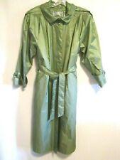 BRITISH MIST LIGHT WEIGHT Women's Trench Raincoat Light Green Shiny Size 8 to 14