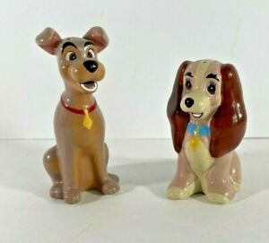 Disney Lady And The Tramp  SALT AND PEPPER SHAKERS SET - Retired - CUTE