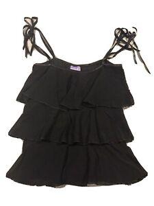 Vintage PILOT Black Ruffle Tiered Cami Tie Up Top Size 14 Y2K 00's 90's