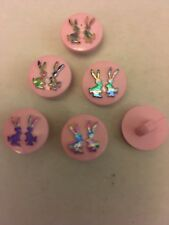 BABY MATINEE JACKET CLOTHING  Novelty Buttons Bunnies Pink & Rainbow 14mm