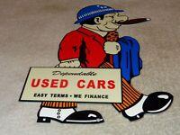"VINTAGE ""DEPENDABLE USED CARS SALESMAN W/ CIGAR"" 12"" METAL GASOLINE & OIL SIGN!!"
