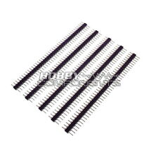 "HOBBY COMPONENTS LTD 0.1"" 2.54mm 40way SIL turned pin M-M headers (Pack of 5)"