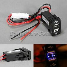 Black Motorcycle Car 12V Dual USB Power Supply Charger Blue LED for TOYOTA VIGO