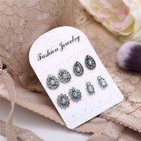 4Pairs/Set Dazzling Earrings Cubic Zirconia Blue Crystal Flower Ear Stud Jewelry