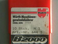 Maschinengewindebohrer, MGB, M  3 Durchgangsloch, DIN 371B,  HSS-E, Würth