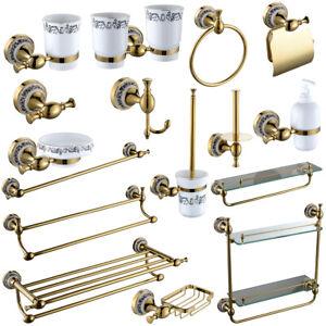 Gold Brass Bathroom Accessories Towel Rail Rack Paper Tumbler Holder Victorian
