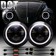 For VW Beetle Classic DOT 7 Inch LED Headlights Upgrade Hi/Low Beam Round Kit