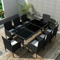 vidaXL Outdoor Dining Set 17 Pieces Poly Rattan Wicker Black Garden Chair Seat