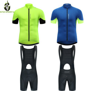 Mens Team Cycling Jersey Bib Shorts With Padding Short Sleeve Jerseys Outfit
