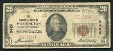 1929 $20 THE NATIONAL BANK OF WASHINGTON, D.C. NATIONAL CURRENCY CH. #3425