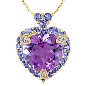 Amethyst,Tanzanite & Diamond Love Heart Pendant Necklace 10K Solid Yellow Gold