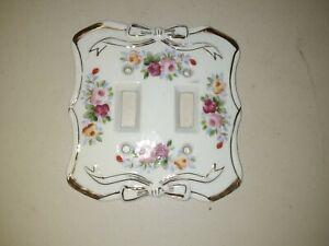 #A Vintage Japan Floral Roses Porcelain Double Light Switch Plate Cover