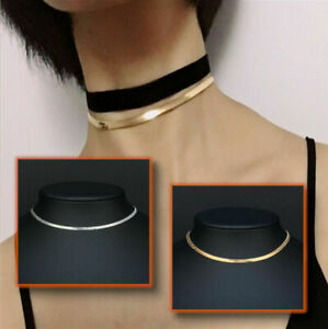 Simple Sexy Gold Silver Plated Shiny Flat Plain Snake Bone Chain Choker Necklace