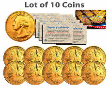 """BICENTENNIAL 1976 QUARTERS 24KT GOLD """"10 U.S. COIN LOT"""" W/H COA & CAPSULES!"""