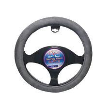 Steering Wheel Cover Ultra Suede Gray White Inner Rubber Universal 14.5''-15.5''