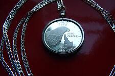 "MIRROR Proof Idaho Eagle Quarter Bezel on any length 18"" to 30"" 925 Silver Chain"