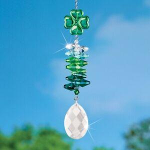 St. Patrick's Day Crystal Shamrock Hanging Glass Suncatcher