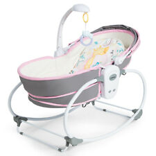 5 in 1 Portable Baby Rock Bassinet Multi-Functional Crib w/ Adjustable Canopy