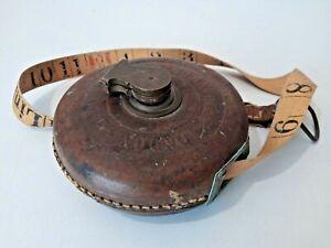 Beautiful Antique 1918 WW1 MilitaryTAPE MEASURE Leather/Brass Case Dean London