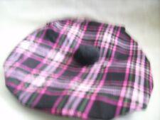 Handmade Scottish Tam Hat Outlander Highlander black and pink plaid
