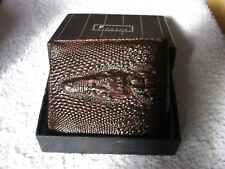 Authentique Portefeuille en cuir croco marron foncé