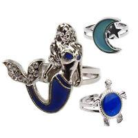 Turtle Mermaid Moon Color Change Ring Mood Emotion Discoloration Adjustable en