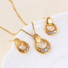 """9K 9ct Yellow """"Gold Filled"""" Girls White Stones Necklace & Earrings Set. Gift"""