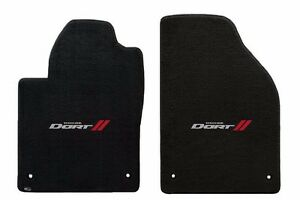New! Black Floor Mats 2013-2016 Dodge Dart Embroidered Logo Silver & Red Pair