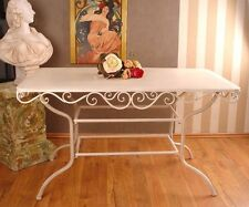 GARDEN TABLE COUNTRY STYLE TABLE WHITE IRON TABLE VINTAGE DINING TABLE METAL