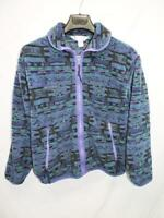 Vintage Columbia M Purple Blue Green Fleece Jacket Full Zip Womens Sherpa Coat