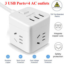 AU Cube Power Board Strip 3 USB+4 Socket Outlets Extension Cord Charger Charging