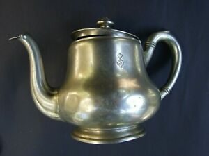 WWII Antique Berndorf Alpacca Teapot British Royal Navy Anchor -Crown Insignia